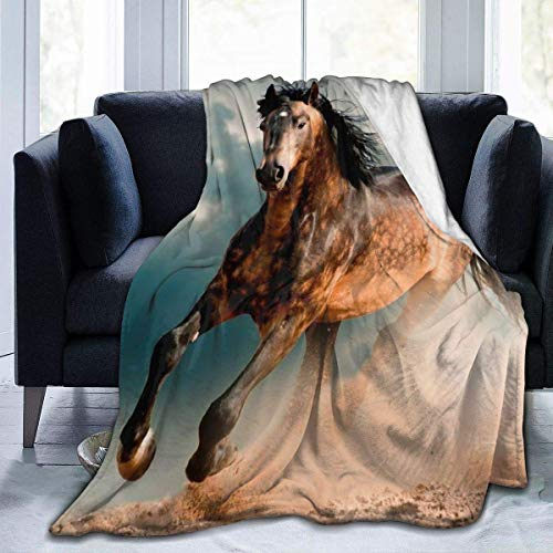 Nat Abra Flannel Fleece Blanket Throw Wild Horses Gallop On Field Ultra-Soft Velvet Plush Throw Blanket