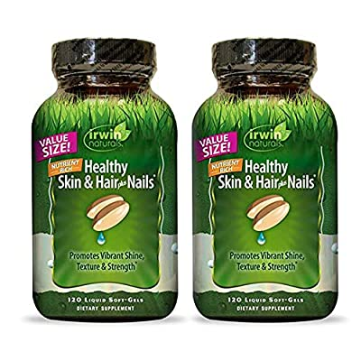 Irwin Naturals Nutrient Rich Healthy Skin & Hair Plus Nails - Promotes Vibrant Shine Texture & Strength - 120 Liquid Softgels (Pack of 2)