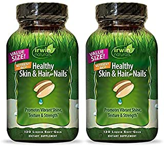 Irwin Naturals Nutrient Rich Healthy Skin & Hair Plus Nails - Promotes Vibrant Shine Texture & Strength - 120 Liquid Softg...