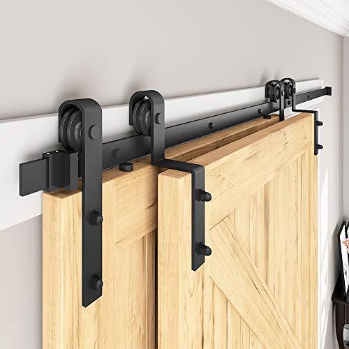 of sliding doors SMARTSMITH 8ft Bypass Barn Door Hardware Kit, Upgraded Bypass Sliding Door Hardware Track for Double Wooden Doors, J Shape Hanger Sliding Door Hardware Kit, Easy Install
