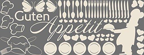 GRAZDesign 770154_57_816 Wandtattoo Küche Guten Appetit mit Koch und Besteck | Wanddeko für Esszimmer | beliebiges Platzieren an die Wand - Schrank (150x57cm//816 Antique White)
