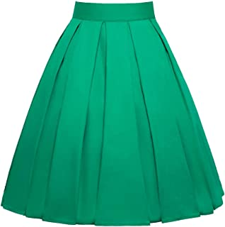 JUSSON Women's Skirt Printed Pleated Skirt Midi Skirt Cotton Fabric-green