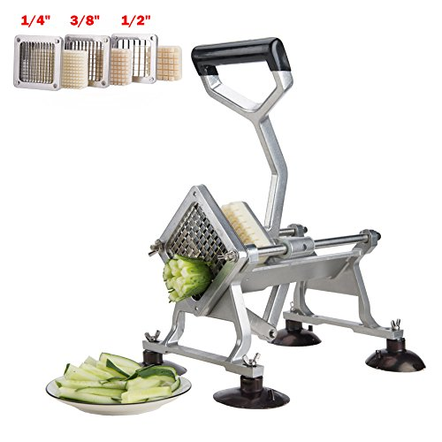 """CO-Z Commercial Grade Heavy Duty French Fry Cutter Fruit Vegetable Slicer with Suction Feet Complete Set with 1/4"""" 3/8"""" 1/2"""" Wedge Blades/Pusher Blocks"""