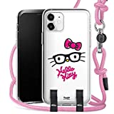 DeinDesign Carry Hülle kompatibel mit Apple iPhone 11 Handykette Handyhülle zum Umhängen Hello Kitty Katze Offizielles Lizenzprodukt