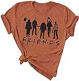 Halloween Friends Shirt Women Funny Halloween Party Shirt Horror Movies Novelty Graphic Short Sleeve Tee Blouse Brown