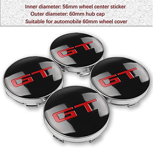 MCLJR 4 unids 56mm 60mm GT Rueda Centro Hub Caps Caps Emblem Badge Logo Wheel Center Cap para Alfa Romeo Kia Ford BMW Audi Nissan Mercedes (Color : GT 60mm)