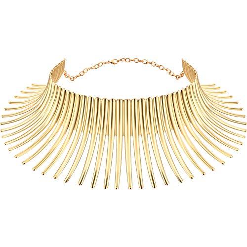 Gargantilla de Collar gótico Gargantilla Africana Collar Punk Collar Babero Macizo, Forma Chispeante Africana Collar de Flecos para Las Mujeres Joyería de Moda para niñas