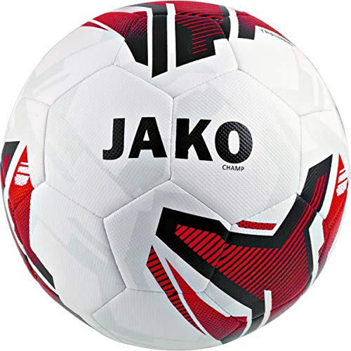 JAKO Trainingsball Champ Fußbälle, weiß/Rot/Schwarz, 5