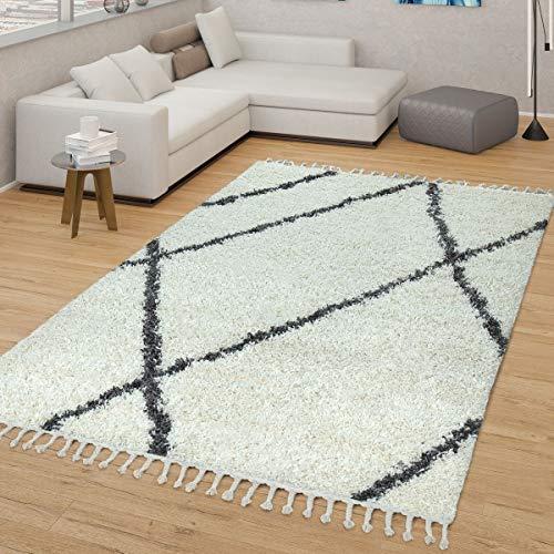 TT Home Skandi Teppich Beige Wohnzimmer Hochflor Rauten Muster Skandinavisches Design, Größe:160x220 cm