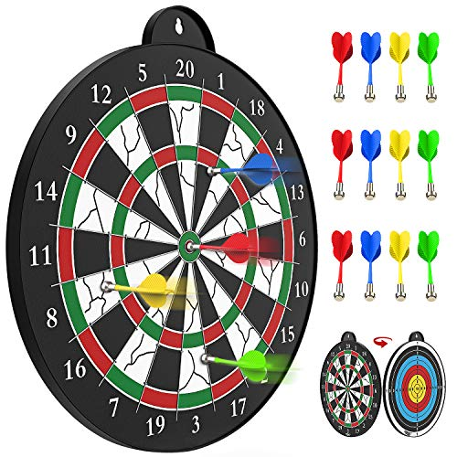STREET WALK Magnetic Dart Board - 12pcs Magnetic Dart - Excellent Indoor Game and Party Games - Magnetic Dart Board Toys for 5 6 7 8 9 10 11 12 Year Old boy Kids and Adult