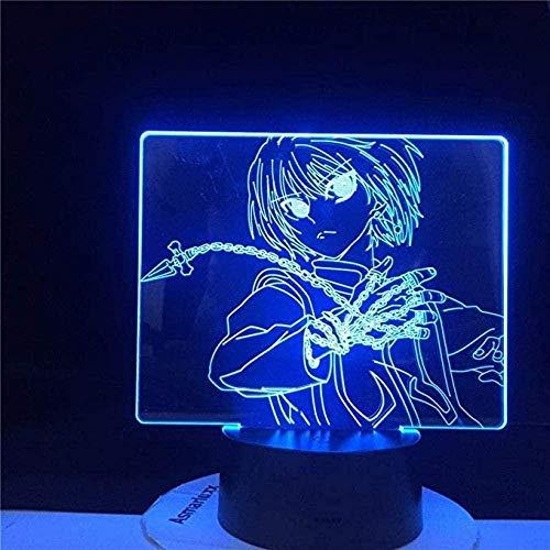 Anime 3D Illusion Night Light LED Luz nocturna Kurapika Collares LED Lámpara Hunter X para niños Dormitorio Decoración Mejor regalo de cumpleaños - 7 colores,