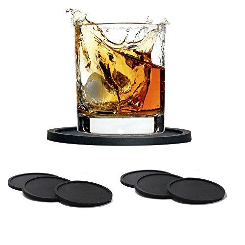 Sottobicchieri Drink in Silicone ,GKONGU 6 Pezzi Antiscivolo Stuoia da tavola,Caldo e Freddo Resistente
