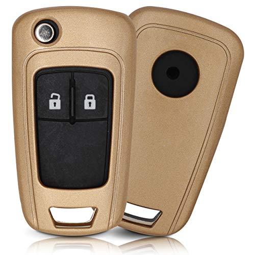 ASARAH ABS Schlüsselhülle für Opel mit edler Lackierung, Schutzhülle für Autoschlüssel Cover für Schlüssel-Typ OP 3BKB - Gold