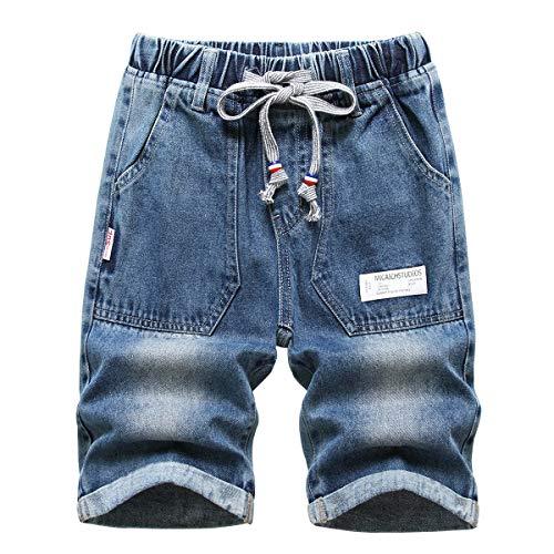 YoungSoul Jungen Jeans Shorts Zerrissen Kurze Hose Kinder Bermuda Sommer Jeanshose mit Gummizug, Blau, 164-170