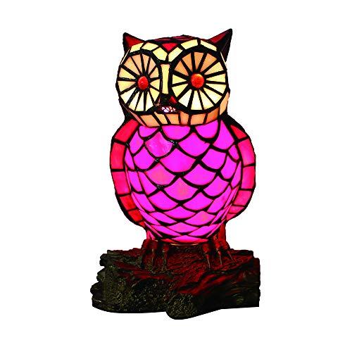 Tokira Tiffany Stil Rote Eule Neben Tischlampe Handgemachte Glasschreibtischlampe Europäischen Kreative Schöne Schlafzimmer Kinder lampe