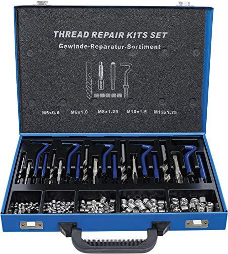 BGS 1950 | Gewinde-Reparatursatz | 130-tlg | M5 - M12 | metrisch | Gewindeeinsätze aus Edelstahl | inkl Metallkassette