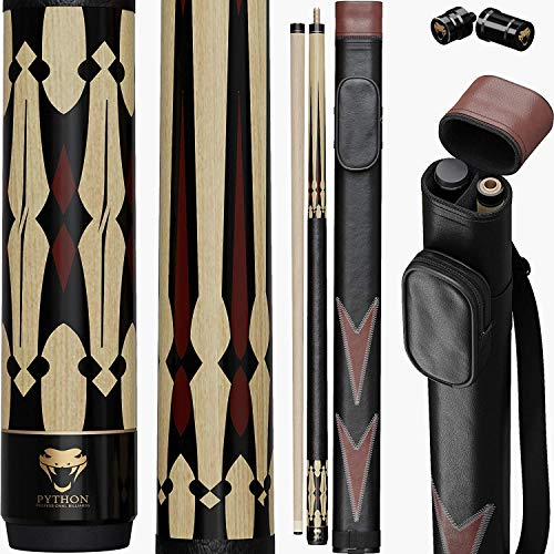 Python - 2- Pieces Pool Cue Stick 100% Canadian Maple Wood. Professional Billiard Pool Cue Stick with Hard Case and Joint Protectors