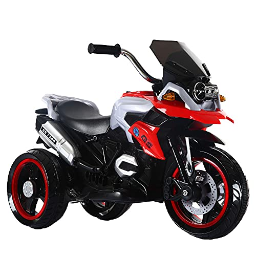 ZHBD Los Niños Viajan En La Motocicleta, Triánderas De Motocicleta con Batería 6V con Música/Faro/Mango, Rueda De 3 Ruedas En Juguetes para Niños Regalo De Niñas,Rojo