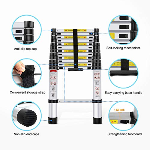 Nelipo Telescopic Extension Multi Purpose Ladders EN131 Certified - Extendable with Spring Load Locking Mechanism Non-Slip
