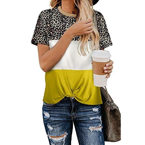 Primavera y Verano, Nuevas Prendas de Vestir para Mujeres Europeas y Americanas, explosivas Costuras de Leopardo con Cuello Redondo, Camiseta de Manga Corta para Mujer