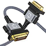DVI to DVI Cable, Capshi DVI-D 24+1 Nylon Braid Cable 6FT, DVI-D to DVI-D Dual Link Cable with Ferrite Core Support 1920x1080 60HZ for Gaming, DVD, Laptop, HDTV and Projector(Grey)