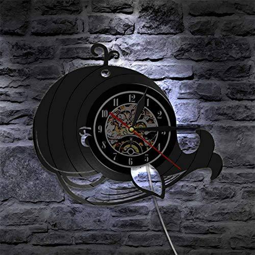 KEC Reloj de Pared con Registro de Vinilo de Animales Marinos, Reloj de Pared con diseño de Ballena para bebé Moderno, Reloj Vintage, Reloj de decoración de habitación para niños