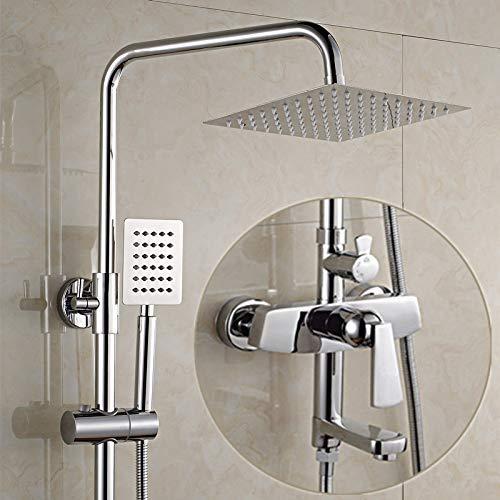 Alle drie koperen douchecabine aan de muur van de badkamer bevestigd aan de lift koudwaterkraan douchekop sproeier. L