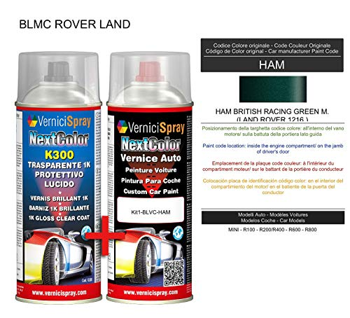 Automotive Touch Up Kit - Auto spuitverf in metallic/parelkleur HAM BRITISH RACING GREEN M. (LAND ROVER 1216) en Gloss Clear Coat, 400 ml Spraycans van VerniciSpray