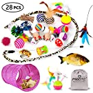 MIBOTE 28 Pcs Cat Toys Kitten Toys Assorted, Cat Tunnel Catnip Fish Feather Teaser Wand Fish Fluffy Mouse Mice Balls and Bells Toys for Cat Puppy Kitty with Storage Bag