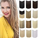 Invisible Wire in Hair Extensions No Clips Hidden Elastic Miracle Fish Line Hairpiece Synthetic Hair for Girls 20' Straight (Dark Blonde mix Bleach Blonde)