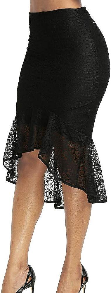 Women's Black High Waist Lace High Low Mermaid Midi Skirt