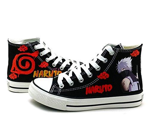 Naruto Anime Hatake Kakashi Cosplay Schuhe Leinwand Schuhe Sneakers, Damen Mädchen, Schwarz, 11 B(M) US Female