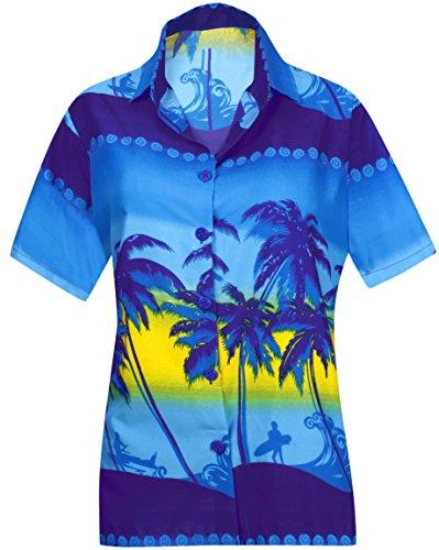LA LEELA Likre acqua Suave Palmera Playa Ocasional botón de Abajo Camisa Azul Hawaiano XXL