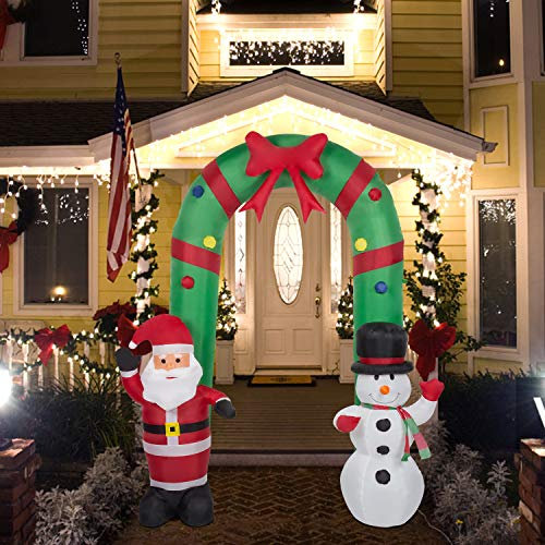 Kinsunny 8 Ft Christmas Inflatable Decorations Santa Claus Archway Arch with Snowman Built-in Lights Holiday Decoration for Outdoor Garden Family Prop Yard Decor