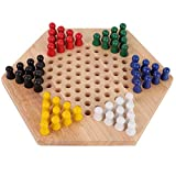 Keenso Chinese checkers Board Game, Children's checkers Nine Games Adult Wooden Checkers Kids