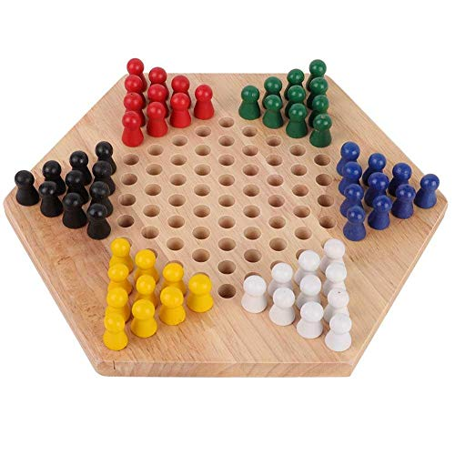 Tbest Holz Checkers, Indoor/Outdoor Bunte Checkers Set Kinder Pädagogisches Brettspiel Chinese Checkers Klassisches Halma Chinese Checkers Strategie Familienspiel