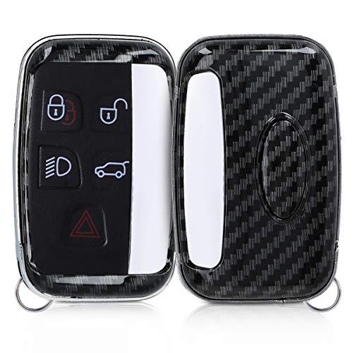 kwmobile Autoschlüssel Hülle kompatibel mit Land Rover Jaguar 5-Tasten Funk Autoschlüssel - Hardcover Schutzhülle Schlüsselhülle Cover Carbon Schwarz