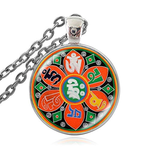 SWAOOS Collar De Mandala Budista Tibetano, Joyería De Geometría Sagrada, Collar Espiritual para Hombres, Collares con Colgante De Mandala De Cadena Larga