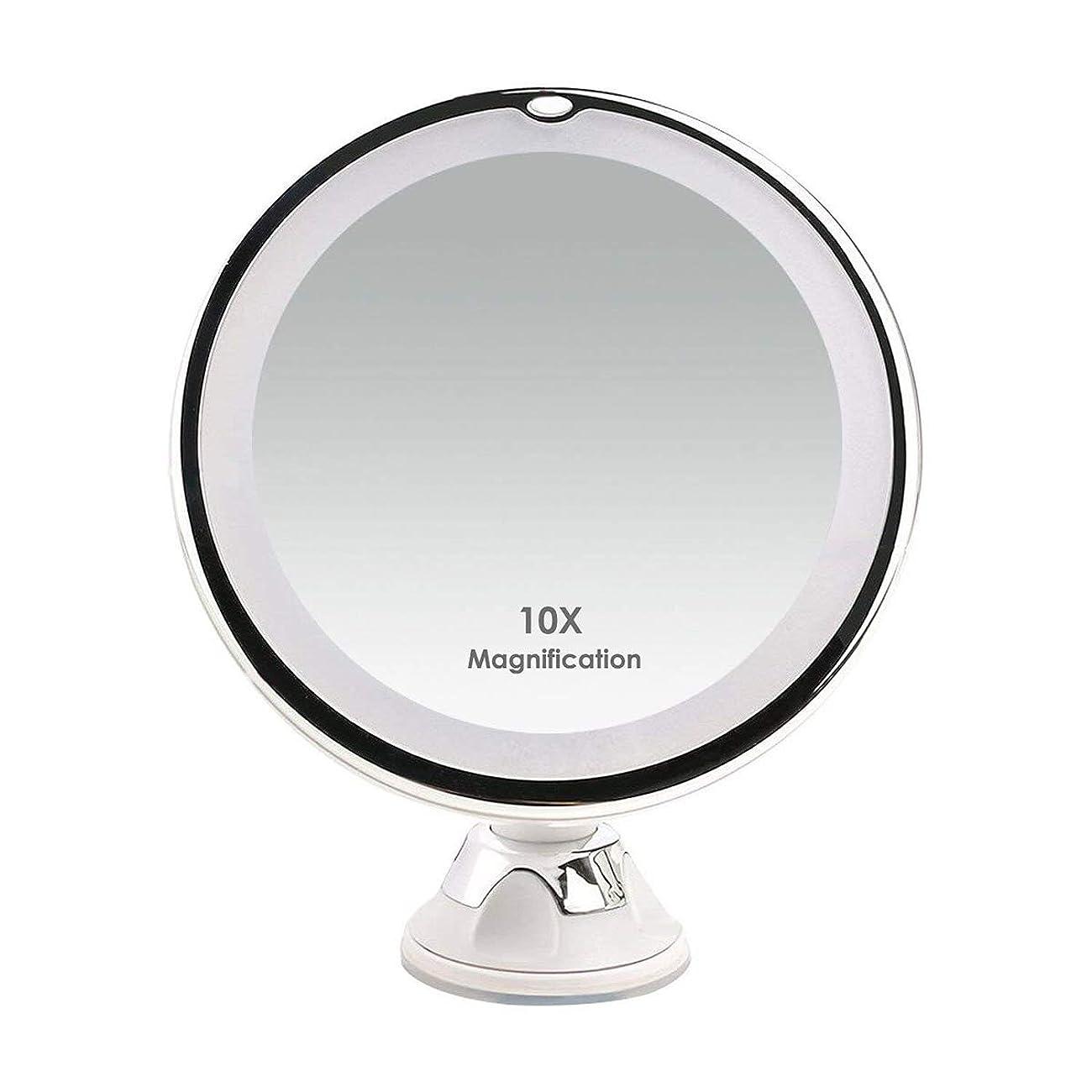 ソファープランター検査MEILIN LED化粧鏡 10倍拡大鏡 卓上ミラー 吸盤ロック付 き360度回転 自然の日光 ガラスに取付可能 スタンド/壁掛け両用 単三電池 コードレス