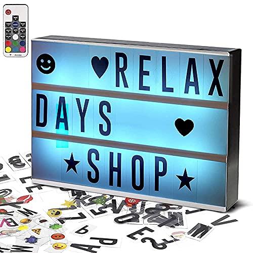IWILCS A4 LED Lightbox Leuchtkasten mit 210 Buchstaben Zahlen Emoji, Leuchtkasten Set mit Farbwechsel, Lightbox mit Fernbedienung USB Kabel Leuchtbox für Party Deko Geschenk