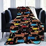 FEIHAT Weiche Fleecedecke mit Dackel-Muster, für Couch, Bett, Reisen, leichte Flanell-Überwurfdecke für alle Jahreszeiten, Flanell, Schwarz, 80'x60'