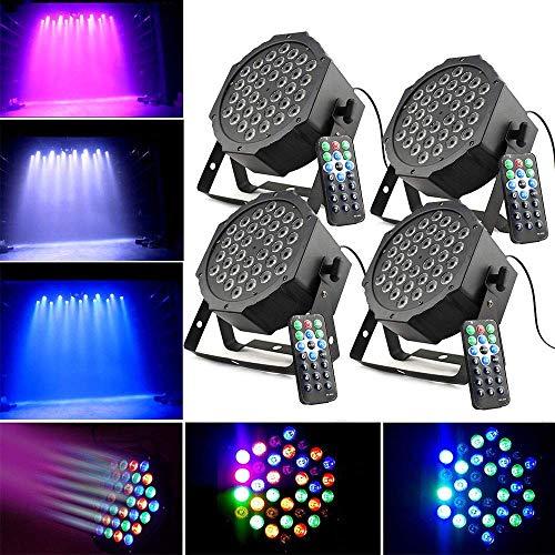 4 x Bühnenlicht Set Flat PAR Licht DMX 512 Bühncht Beleuchtung 7 Steuerkanäl LED Discokugel RGB Blitzlicht Disco Lichteffekte Party Partybeleuchtung Scheinwerfer (36W LED)