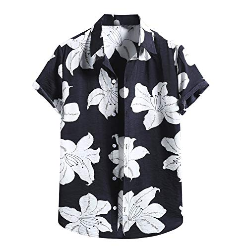 XIAOYUER Leinenhemd Herren Hemd Kurzarm Männer Hemd Mode Baumwolle Leinen Surfhemd Strandhemd Streifen Kariert Hawaii Blumen Druck Sommer S M L XL XXL Urlaub Hemd Button Shirt Bluse Tops Slim Fit