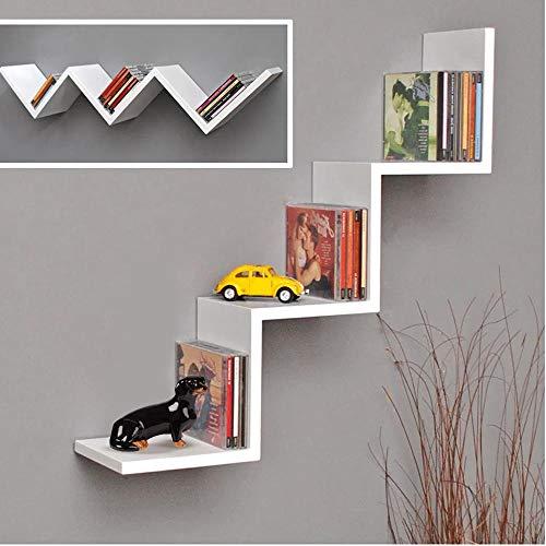BAKAJI Libreria Mensole da Parete Moderna Design Zig Zag Mensola Scaffale in Legno Melaminico Dimensione 70 x 15 x 14 cm (Bianco)