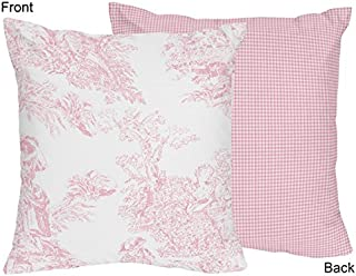 Sweet Jojo Designs Pink and White French Toile Checkered Decorative Accent Throw Pillow