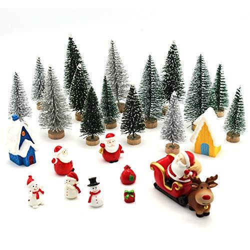 ECHOAN 27 Piezas Adornos Navideños Kits, Adornos en Miniatura de DIY Navidad,Nieve Reno Adorno,Papá NOE,Navidad Árbol decoración de casa