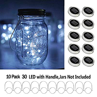 Shelley Solar Mason Jar Lid Lights,10 Pack 30 LEDs(Hanger Included) String Fairy Lights Solar Laterns Table Lights,Great Outdoor Lawn Decor for Patio Garden, Yard(No Jars)