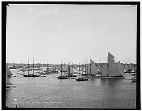 HistoricalFindings Photo York Yacht Club,NYYC,Fleet,Newport Harbor,sailing,ships,Rhode Island,RH,1888