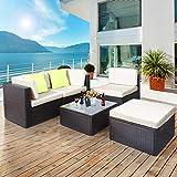 Polyratten Lounge 5 Teilig Sitzgruppe Gartenmöbel Garnitur für 3-4 Personen - 8