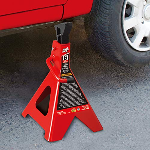 Torin Big Red Steel Jack Stands: Double Locking, 6 Ton Capacity, 1 Pair